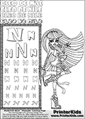 Kids Coloring and letter practice page (the Letter N) with Cleo De Nile from Monster High. Practice drawing, writing and coloring the Letter N in different shapes and sizes. Customize the CLEO DE NILE name in several ways, by coloring the name letters. Have fun with the coloring page while practicing on the alphabet Letter N. Color a fantastic drawing of Cleo De Nile that is standing with her hair blown to the side by the wind. If you love coloring and customizing hair - then this is surely a Letter N - activity and Coloring Page you need to check out! This Letter N - activity and Coloring Page for printing show Cleo De Nile in her classic egyptian princess outfit with golden objects, bandages and of course fantastic long dark hair. This Cleo De Nile Monster High printable page to color page is drawn by elfkena ( http://elfkena.deviantart.com/ ). It has been made available for free download and printing via the artist deviant art url, squidoo pages and several monster high fan pages. This printable colouring and letter practice page is themed around Cleo De Nile and the Letter N. The alphabet Letter N  is available in several designs inside a frame, designed to look like an egyptian tablet or pyramid wall drawing pattern. The Letter N is used for this printing page for practice and coloring, because it is one of the letters used in CLEO DE NILEs name. Be sure to check out letter and pencil practice printables with the other letters that are used to write CLEO DE NILE.