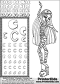 Kids Coloring and letter practice page (the letter C) with Cleo De Nile from Monster High. Practice drawing, writing and coloring the letter C in different shapes and sizes. Customize the CLEO DE NILE name in several ways, by coloring the name letters. Have fun with the coloring page while practicing on the alphabet letter C. Slumber-party coloring anyone??? Print and Color Cleo De Nile standing - clearly tired and yawning! This Letter C - activity and Coloring Page for printing show Cleo De Nile in her classic cute Dead Tired pyjamas-like outfit. This Cleo De Nile Monster High printable page to color page is drawn by elfkena ( http://elfkena.deviantart.com/ ). It has been made available for free download and printing via the artist deviant art url, squidoo pages and several monster high fan pages. This printable colouring and letter practice page is themed around Cleo De Nile and the Letter C. The C letter is available in several designs inside a frame, designed to look like an egyptian tablet or pyramid wall drawing pattern. The Letter C is used because Cleo De Nile starts with a capital C. Be sure to check out letter and pencil practice printables with the other letters that are used to write CLEO DE NILE.