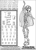 Kids Coloring and letter practice page (the Letter E) with Cleo De Nile from Monster High. Practice drawing, writing and coloring the Letter E in different shapes and sizes. Customize the CLEO DE NILE name in several ways, by coloring the name letters. Have fun with the coloring page while practicing on the alphabet Letter E. Slumber-party coloring anyone??? Print and Color Cleo De Nile standing - clearly tired and yawning! This Letter E - activity and Coloring Page for printing show Cleo De Nile in her classic cute Dead Tired pyjamas-like outfit. This Cleo De Nile Monster High printable page to color page is drawn by elfkena ( http://elfkena.deviantart.com/ ). It has been made available for free download and printing via the artist deviant art url, squidoo pages and several monster high fan pages. This printable colouring and letter practice page is themed around Cleo De Nile and the Letter E. The alphabet Letter E  is available in several designs inside a frame, designed to look like an egyptian tablet or pyramid wall drawing pattern. The Letter E is used for this printing page for practice and coloring, because it is one of the letters used in CLEO DE NILEs name. Be sure to check out letter and pencil practice printables with the other letters that are used to write CLEO DE NILE.