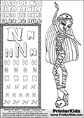 Kids Coloring and letter practice page (the Letter N) with Cleo De Nile from Monster High. Practice drawing, writing and coloring the Letter N in different shapes and sizes. Customize the CLEO DE NILE name in several ways, by coloring the name letters. Have fun with the coloring page while practicing on the alphabet Letter N. Slumber-party coloring anyone??? Print and Color Cleo De Nile standing - clearly tired and yawning! This Letter N - activity and Coloring Page for printing show Cleo De Nile in her classic cute Dead Tired pyjamas-like outfit. This Cleo De Nile Monster High printable page to color page is drawn by elfkena ( http://elfkena.deviantart.com/ ). It has been made available for free download and printing via the artist deviant art url, squidoo pages and several monster high fan pages. This printable colouring and letter practice page is themed around Cleo De Nile and the Letter N. The alphabet Letter N  is available in several designs inside a frame, designed to look like an egyptian tablet or pyramid wall drawing pattern. The Letter N is used for this printing page for practice and coloring, because it is one of the letters used in CLEO DE NILEs name. Be sure to check out letter and pencil practice printables with the other letters that are used to write CLEO DE NILE.