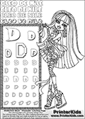 Kids Coloring and letter practice page (the Letter D) with Cleo De Nile from Monster High. Practice drawing, writing and coloring the Letter D in different shapes and sizes. Customize the CLEO DE NILE name in several ways, by coloring the name letters. Have fun with the coloring page while practicing on the alphabet Letter D. Color a fun Cleo page where she is standing and toying or playing with her long hair. She is pictured with her left hand by her side, and her right hand playing with her hair while smiling. This Letter D - activity and Coloring Page for printing show Cleo De Nile in her classic egyptian princess outfit with golden objects, bandages and of course fantastic long dark hair. This Cleo De Nile Monster High printable page to color page is drawn by elfkena ( http://elfkena.deviantart.com/ ). It has been made available for free download and printing via the artist deviant art url, squidoo pages and several monster high fan pages. This printable colouring and letter practice page is themed around Cleo De Nile and the Letter D. The alphabet Letter D  is available in several designs inside a frame, designed to look like an egyptian tablet or pyramid wall drawing pattern. The Letter D is used for this printing page for practice and coloring, because it is one of the letters used in CLEO DE NILEs name. Be sure to check out letter and pencil practice printables with the other letters that are used to write CLEO DE NILE.