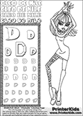 Kids Coloring and letter practice page (the Letter D) with Cleo De Nile from Monster High. Practice drawing, writing and coloring the Letter D in different shapes and sizes. Customize the CLEO DE NILE name in several ways, by coloring the name letters. Have fun with the coloring page while practicing on the alphabet Letter D. Color and customize a great printable with Cleo De Nile dancing. Perpahs it is time to add a few disco balls, a dance floor and some music! This Letter D - activity and Coloring Page for printing show Cleo De Nile in her classy Dawn of the Dance outfit and shoulder long hair. This Cleo De Nile Monster High printable page to color page is drawn by elfkena ( http://elfkena.deviantart.com/ ). It has been made available for free download and printing via the artist deviant art url, squidoo pages and several monster high fan pages. This printable colouring and letter practice page is themed around Cleo De Nile and the Letter D. The alphabet Letter D  is available in several designs inside a frame, designed to look like an egyptian tablet or pyramid wall drawing pattern. The Letter D is used for this printing page for practice and coloring, because it is one of the letters used in CLEO DE NILEs name. Be sure to check out letter and pencil practice printables with the other letters that are used to write CLEO DE NILE.