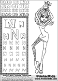 Kids Coloring and letter practice page (the Letter N) with Cleo De Nile from Monster High. Practice drawing, writing and coloring the Letter N in different shapes and sizes. Customize the CLEO DE NILE name in several ways, by coloring the name letters. Have fun with the coloring page while practicing on the alphabet Letter N. Color and customize a great printable with Cleo De Nile dancing. Perpahs it is time to add a few disco balls, a dance floor and some music! This Letter N - activity and Coloring Page for printing show Cleo De Nile in her classy Dawn of the Dance outfit and shoulder long hair. This Cleo De Nile Monster High printable page to color page is drawn by elfkena ( http://elfkena.deviantart.com/ ). It has been made available for free download and printing via the artist deviant art url, squidoo pages and several monster high fan pages. This printable colouring and letter practice page is themed around Cleo De Nile and the Letter N. The alphabet Letter N  is available in several designs inside a frame, designed to look like an egyptian tablet or pyramid wall drawing pattern. The Letter N is used for this printing page for practice and coloring, because it is one of the letters used in CLEO DE NILEs name. Be sure to check out letter and pencil practice printables with the other letters that are used to write CLEO DE NILE.