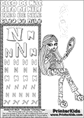 Kids Coloring and letter practice page (the Letter N) with Cleo De Nile from Monster High. Practice drawing, writing and coloring the Letter N in different shapes and sizes. Customize the CLEO DE NILE name in several ways, by coloring the name letters. Have fun with the coloring page while practicing on the alphabet Letter N. Color Cleo De Nile in a great printable where she is sitting ready to end the day in her pyjamas-like outfit. Cleo De Nile is sitting on a chair with a mirror in one hand. Her face reflection can be seen in the mirror - so it is possible to color it twice on this printing page. This Letter N - activity and Coloring Page for printing show Cleo De Nile in her pyjamas-like Dead Tired Outfit. This Cleo De Nile Monster High printable page to color page is drawn by elfkena ( http://elfkena.deviantart.com/ ). It has been made available for free download and printing via the artist deviant art url, squidoo pages and several monster high fan pages. This printable colouring and letter practice page is themed around Cleo De Nile and the Letter N. The alphabet Letter N  is available in several designs inside a frame, designed to look like an egyptian tablet or pyramid wall drawing pattern. The Letter N is used for this printing page for practice and coloring, because it is one of the letters used in CLEO DE NILEs name. Be sure to check out letter and pencil practice printables with the other letters that are used to write CLEO DE NILE.