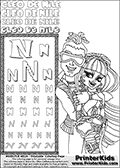 Printable colouring sheet with Cleo De Nile and Deuce Gordon from Monster High. This Letter N - activity and Coloring Page for printing show Cleo De Nile and Deuce Gordon hugging up close. Cleo and Deuce are both drawn from the upper body and up, making this a Letter N - activity and Coloring Page with great room for face coloring details. The Letter N - activity and Coloring Page is amazing with face emotions that shown just how much Deuce and Cleo like each other. This Cleo De Nile and Deuce Gordon Monster High printable page to color page is drawn by elfkena ( http://elfkena.deviantart.com/ ). It has been made available for free download and printing via the artist deviant art url, squidoo pages and several monster high fan pages. This printable colouring and letter practice page is themed around Cleo De Nile and the Letter N. The alphabet Letter N  is available in several designs inside a frame, designed to look like an egyptian tablet or pyramid wall drawing pattern. The Letter N is used for this printing page for practice and coloring, because it is one of the letters used in CLEO DE NILEs name. Be sure to check out letter and pencil practice printables with the other letters that are used to write CLEO DE NILE.