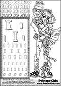 Printable colouring sheet with Cleo De Nile and Deuce Gordon from Monster High. This Letter I - activity and Coloring Page for printing show Cleo De Nile and Deuce Gordon standing close together hugging. Cleo and Deuce both have their classic outfits on, and are drawn from top to toe. This Cleo De Nile and Deuce Gordon Monster High printable page to color page is drawn by elfkena ( http://elfkena.deviantart.com/ ). It has been made available for free download and printing via the artist deviant art url, squidoo pages and several monster high fan pages. This printable colouring and letter practice page is themed around Cleo De Nile and the Letter I. The alphabet Letter I  is available in several designs inside a frame, designed to look like an egyptian tablet or pyramid wall drawing pattern. The Letter I is used for this printing page for practice and coloring, because it is one of the letters used in CLEO DE NILEs name. Be sure to check out letter and pencil practice printables with the other letters that are used to write CLEO DE NILE.