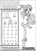 Kids coloring and letter practice page (the alphabet Letter R) with Draculaura from Monster High. Practice drawing, writing and coloring the Letter R in different shapes and sizes. Customize the DRACULAURA name in several ways, by coloring the name letters. Have fun with the coloring page while practicing on the alphabet Letter R.This coloring page for printing show Draculaura in her Back to school outfit. Print and color a very cute Draculaura page, where Draculaura is standing in her Back to school outfit, lifting her cute little hat with her right hand. This Draculaura Monster High printable page to color page is drawn by elfkena ( http://elfkena.deviantart.com/ ). It has been made available for free download and printing via the artist deviant art url, squidoo pages and several monster high fan pages.  This printable colouring and letter practice page is themed around Draculaura - or Ula D as her friends call her - and the alphabet Letter R. The alphabet Letter R  is available in as uppercase in several different cool versions inside a frame, designed to look like an iron gate. The Letter R is used for this printing page for practice and coloring, because it is one of the letters used in DRACULAURAs name. Be sure to check out letter and pencil practice printables with the other letters that are used to write DRACULAURA. The Iron gate design was found at: http://mrgone.rocksolidshells.com/bordersjpg.html