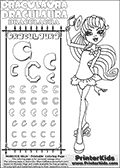 Kids coloring and letter practice page (the alphabet Letter C) with Draculaura from Monster High. Practice drawing, writing and coloring the Letter C in different shapes and sizes. Customize the DRACULAURA name in several ways, by coloring the name letters. Have fun with the coloring page while practicing on the alphabet Letter C.This coloring page for printing show Draculaura in her Back to school outfit. Print and color a very cute Draculaura page, where Draculaura is standing in her Back to school outfit, lifting her cute little hat with her right hand. This Draculaura Monster High printable page to color page is drawn by elfkena ( http://elfkena.deviantart.com/ ). It has been made available for free download and printing via the artist deviant art url, squidoo pages and several monster high fan pages.  This printable colouring and letter practice page is themed around Draculaura - or Ula D as her friends call her - and the alphabet Letter C. The alphabet Letter C  is available in as uppercase in several different cool versions inside a frame, designed to look like an iron gate. The Letter C is used for this printing page for practice and coloring, because it is one of the letters used in DRACULAURAs name. Be sure to check out Letter Cnd pencil practice printables with the other letters that are used to write DRACULAURA. The Iron gate design was found at: http://mrgone.rocksolidshells.com/bordersjpg.html