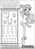 Kids coloring and letter practice page (the alphabet Letter U) with Draculaura from Monster High. Practice drawing, writing and coloring the Letter U in different shapes and sizes. Customize the DRACULAURA name in several ways, by coloring the name letters. Have fun with the coloring page while practicing on the alphabet Letter U.This coloring page for printing show Draculaura in her Back to school outfit. Print and color a very cute Draculaura page, where Draculaura is standing in her Back to school outfit, lifting her cute little hat with her right hand. This Draculaura Monster High printable page to color page is drawn by elfkena ( http://elfkena.deviantart.com/ ). It has been made available for free download and printing via the artist deviant art url, squidoo pages and several monster high fan pages.  This printable colouring and letter practice page is themed around Draculaura - or Ula D as her friends call her - and the alphabet Letter U. The alphabet Letter U  is available in as uppercase in several different cool versions inside a frame, designed to look like an iron gate. The Letter U is used for this printing page for practice and coloring, because it is one of the letters used in DRACULAURAs name. Be sure to check out Letter Und pencil practice printables with the other letters that are used to write DRACULAURA. The Iron gate design was found at: http://mrgone.rocksolidshells.com/bordersjpg.html