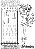 Kids coloring and letter practice page (the alphabet Letter L) with Draculaura from Monster High. Practice drawing, writing and coloring the Letter L in different shapes and sizes. Customize the DRACULAURA name in several ways, by coloring the name letters. Have fun with the coloring page while practicing on the alphabet Letter L.This coloring page for printing show Draculaura in her Back to school outfit. Print and color a very cute Draculaura page, where Draculaura is standing in her Back to school outfit, lifting her cute little hat with her right hand. This Draculaura Monster High printable page to color page is drawn by elfkena ( http://elfkena.deviantart.com/ ). It has been made available for free download and printing via the artist deviant art url, squidoo pages and several monster high fan pages.  This printable colouring and letter practice page is themed around Draculaura - or Ula D as her friends call her - and the alphabet Letter L. The alphabet Letter L  is available in as uppercase in several different cool versions inside a frame, designed to look like an iron gate. The Letter L is used for this printing page for practice and coloring, because it is one of the letters used in DRACULAURAs name. Be sure to check out Letter Lnd pencil practice printables with the other letters that are used to write DRACULAURA. The Iron gate design was found at: http://mrgone.rocksolidshells.com/bordersjpg.html