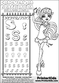 Kids coloring and letter practice page (the alphabet Letter S) with Draculaura from Monster High. Practice drawing, writing and coloring the Letter S in different shapes and sizes. Customize the DRACULAURA name in several ways, by coloring the name letters. Have fun with the coloring page while practicing on the alphabet Letter S.This coloring page for printing show Draculaura in her Back to school outfit. Print and color a very cute Draculaura page, where Draculaura is standing in her Back to school outfit, lifting her cute little hat with her right hand. This Draculaura Monster High printable page to color page is drawn by elfkena ( http://elfkena.deviantart.com/ ). It has been made available for free download and printing via the artist deviant art url, squidoo pages and several monster high fan pages.  This printable colouring and letter practice page is themed around Draculaura - or Ula D as her friends call her - and the alphabet Letter S. The alphabet Letter S  is available in as uppercase in several different cool versions inside a frame, designed to look like an iron gate. The Iron gate design was found at: http://mrgone.rocksolidshells.com/bordersjpg.html