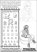 Kids coloring and letter practice page (the alphabet Letter R) with Draculaura from Monster High. Practice drawing, writing and coloring the Letter R in different shapes and sizes. Customize the DRACULAURA name in several ways, by coloring the name letters. Have fun with the coloring page while practicing on the alphabet Letter R.This coloring page for printing show Draculaura in her Ghoul Spirit outfit. Download and color a cool Draculaura coloring print, where Draculaura is drawn sitting on a huge pillow-like chair. Draculaura is sitting with her legs crossed and is pictured with long hair. This Draculaura Monster High printable page to color page is drawn by elfkena ( http://elfkena.deviantart.com/ ). It has been made available for free download and printing via the artist deviant art url, squidoo pages and several monster high fan pages.  This printable colouring and letter practice page is themed around Draculaura - or Ula D as her friends call her - and the alphabet Letter R. The alphabet Letter R  is available in as uppercase in several different cool versions inside a frame, designed to look like an iron gate. The Letter R is used for this printing page for practice and coloring, because it is one of the letters used in DRACULAURAs name. Be sure to check out letter and pencil practice printables with the other letters that are used to write DRACULAURA. The Iron gate design was found at: http://mrgone.rocksolidshells.com/bordersjpg.html