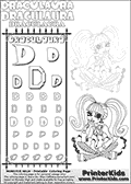 Kids coloring and letter practice page (the alphabet letter D) with Draculaura from Monster High. Practice drawing, writing and coloring the letter D in different shapes and sizes. Customize the DRACULAURA name in several ways, by coloring the name letters. Have fun with the coloring page while practicing on the alphabet letter D.This coloring page for printing show Draculaura in a very lovely outfit, filled wth dots and hearts. Download and color an amazing high face-detail Draculaura coloring page, where Draculaura is drawn sitting with her legs crossed facing directly at you. Draculaura is drawn with fantastic colorable hair, and with an outfit that has a great amount of small cute colorable areas. This Draculaura coloring page is ideal for coloring when you have a little more time for detail! This Draculaura Monster High printable page to color page is drawn by elfkena ( http://elfkena.deviantart.com/ ). It has been made available for free download and printing via the artist deviant art url, squidoo pages and several monster high fan pages. Draculaura from Monster High is character themed as a fun twist to the classic vampire. Her favorite color is pink, she is a vegan (meaning that she doesnt eat anything that isnt a plaint, fruit, berrie, nut etc. - no meat or animal product). Draculaura - or Ula D as her friends call her, is 1599 years old - and look very much forward to her sweet 1600! Her least favorite subject is geography - but with almst 1600 years on her back, she has seen everything twice so that is more than understandable. She love creative writing. A fun fact about Draculaura is, that she cant see her own reflection in a mirror - so she has to leave every morning without knowing how her make-up looks and matches to her cloth!