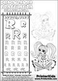 Monster High - Draculaura (Sitting Pointing) - Letter R - Pencil Practice  and Coloring Page