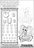 Kids coloring and letter practice page (the alphabet Letter U) with Draculaura from Monster High. Practice drawing, writing and coloring the Letter U in different shapes and sizes. Customize the DRACULAURA name in several ways, by coloring the name letters. Have fun with the coloring page while practicing on the alphabet Letter U.This coloring page for printing show Draculaura in a very lovely outfit, filled wth dots and hearts. Download and color an amazing high face-detail Draculaura coloring page, where Draculaura is drawn sitting with her legs crossed facing directly at you. Draculaura is drawn with fantastic colorable hair, and with an outfit that has a great amount of small cute colorable areas. This Draculaura coloring page is ideal for coloring when you have a little more time for detail! This Draculaura Monster High printable page to color page is drawn by elfkena ( http://elfkena.deviantart.com/ ). It has been made available for free download and printing via the artist deviant art url, squidoo pages and several monster high fan pages.  This printable colouring and letter practice page is themed around Draculaura - or Ula D as her friends call her - and the alphabet Letter U. The alphabet Letter U  is available in as uppercase in several different cool versions inside a frame, designed to look like an iron gate. The Letter U is used for this printing page for practice and coloring, because it is one of the letters used in DRACULAURAs name. Be sure to check out Letter Und pencil practice printables with the other letters that are used to write DRACULAURA. The Iron gate design was found at: http://mrgone.rocksolidshells.com/bordersjpg.html