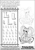 Kids coloring and letter practice page (the alphabet Letter L) with Draculaura from Monster High. Practice drawing, writing and coloring the Letter L in different shapes and sizes. Customize the DRACULAURA name in several ways, by coloring the name letters. Have fun with the coloring page while practicing on the alphabet Letter L.This coloring page for printing show Draculaura in a very lovely outfit, filled wth dots and hearts. Download and color an amazing high face-detail Draculaura coloring page, where Draculaura is drawn sitting with her legs crossed facing directly at you. Draculaura is drawn with fantastic colorable hair, and with an outfit that has a great amount of small cute colorable areas. This Draculaura coloring page is ideal for coloring when you have a little more time for detail! This Draculaura Monster High printable page to color page is drawn by elfkena ( http://elfkena.deviantart.com/ ). It has been made available for free download and printing via the artist deviant art url, squidoo pages and several monster high fan pages.  This printable colouring and letter practice page is themed around Draculaura - or Ula D as her friends call her - and the alphabet Letter L. The alphabet Letter L  is available in as uppercase in several different cool versions inside a frame, designed to look like an iron gate. The Letter L is used for this printing page for practice and coloring, because it is one of the letters used in DRACULAURAs name. Be sure to check out Letter Lnd pencil practice printables with the other letters that are used to write DRACULAURA. The Iron gate design was found at: http://mrgone.rocksolidshells.com/bordersjpg.html