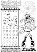 Kids coloring and letter practice page (the alphabet Letter C) with Draculaura from Monster High. Practice drawing, writing and coloring the Letter C in different shapes and sizes. Customize the DRACULAURA name in several ways, by coloring the name letters. Have fun with the coloring page while practicing on the alphabet Letter C.This coloring page for printing show Draculaura standing with her hands in front of her face. She is drawn shaping a heart in front of her face with her fingers. This extremely cute Draculaura coloring sheet has relatively large - easy to color areas. The coloring page only has a few small areas such as buttons and hearts on Draculauras boots. This Draculaura Monster High printable page to color page is drawn by elfkena ( http://elfkena.deviantart.com/ ). It has been made available for free download and printing via the artist deviant art url, squidoo pages and several monster high fan pages.  This printable colouring and letter practice page is themed around Draculaura - or Ula D as her friends call her - and the alphabet Letter C. The alphabet Letter C  is available in as uppercase in several different cool versions inside a frame, designed to look like an iron gate. The Letter C is used for this printing page for practice and coloring, because it is one of the letters used in DRACULAURAs name. Be sure to check out Letter Cnd pencil practice printables with the other letters that are used to write DRACULAURA. The Iron gate design was found at: http://mrgone.rocksolidshells.com/bordersjpg.html