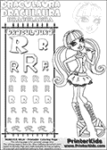 Kids coloring and letter practice page (the alphabet Letter R) with Draculaura from Monster High. Practice drawing, writing and coloring the Letter R in different shapes and sizes. Customize the DRACULAURA name in several ways, by coloring the name letters. Have fun with the coloring page while practicing on the alphabet Letter R.This coloring page for printing show Draculaura in her classic original outfit. Draculaura is drawn posing, with her lower legs slightly bent looking very cute and smart. She is wearing amazing boots and have her colorable hair in long fantastic pony tails.  This Draculaura Monster High printable page to color page is drawn by elfkena ( http://elfkena.deviantart.com/ ). It has been made available for free download and printing via the artist deviant art url, squidoo pages and several monster high fan pages.  This printable colouring and letter practice page is themed around Draculaura - or Ula D as her friends call her - and the alphabet Letter R. The alphabet Letter R  is available in as uppercase in several different cool versions inside a frame, designed to look like an iron gate. The Letter R is used for this printing page for practice and coloring, because it is one of the letters used in DRACULAURAs name. Be sure to check out letter and pencil practice printables with the other letters that are used to write DRACULAURA. The Iron gate design was found at: http://mrgone.rocksolidshells.com/bordersjpg.html