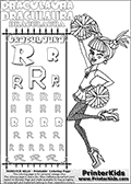 Kids coloring and letter practice page (the alphabet Letter R) with Draculaura from Monster High. Practice drawing, writing and coloring the Letter R in different shapes and sizes. Customize the DRACULAURA name in several ways, by coloring the name letters. Have fun with the coloring page while practicing on the alphabet Letter R.This coloring page for printing show Draculaura in her ghoul spirit outfit. Draculaura is drawn posing as a very active gymnast or cheerleader, with ponpons in both hands. The coloring page show Draculaura from a somewhat side-view, with her arms and legs bent while she is cheering!  This Draculaura Monster High printable page to color page is drawn by elfkena ( http://elfkena.deviantart.com/ ). It has been made available for free download and printing via the artist deviant art url, squidoo pages and several monster high fan pages.  This printable colouring and letter practice page is themed around Draculaura - or Ula D as her friends call her - and the alphabet Letter R. The alphabet Letter R  is available in as uppercase in several different cool versions inside a frame, designed to look like an iron gate. The Letter R is used for this printing page for practice and coloring, because it is one of the letters used in DRACULAURAs name. Be sure to check out letter and pencil practice printables with the other letters that are used to write DRACULAURA. The Iron gate design was found at: http://mrgone.rocksolidshells.com/bordersjpg.html