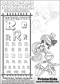 Kids coloring and letter practice page (the alphabet Letter R) with Draculaura from Monster High. Practice drawing, writing and coloring the Letter R in different shapes and sizes. Customize the DRACULAURA name in several ways, by coloring the name letters. Have fun with the coloring page while practicing on the alphabet Letter R.This coloring page for printing show Draculaura in her dawn of the dance outfit. Draculaura is drawn posing sitting with her legs bent, almost on her knees.  This Draculaura Monster High printable page to color page is drawn by elfkena ( http://elfkena.deviantart.com/ ). It has been made available for free download and printing via the artist deviant art url, squidoo pages and several monster high fan pages.  This printable colouring and letter practice page is themed around Draculaura - or Ula D as her friends call her - and the alphabet Letter R. The alphabet Letter R  is available in as uppercase in several different cool versions inside a frame, designed to look like an iron gate. The Letter R is used for this printing page for practice and coloring, because it is one of the letters used in DRACULAURAs name. Be sure to check out letter and pencil practice printables with the other letters that are used to write DRACULAURA. The Iron gate design was found at: http://mrgone.rocksolidshells.com/bordersjpg.html
