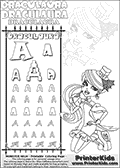 Monster High - Draculaura (Sitting Pose - Dawn of the Dance) - Letter A - Pencil Practice  and Coloring Page