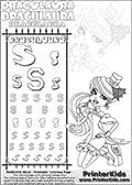 Kids coloring and letter practice page (the alphabet Letter S) with Draculaura from Monster High. Practice drawing, writing and coloring the Letter S in different shapes and sizes. Customize the DRACULAURA name in several ways, by coloring the name letters. Have fun with the coloring page while practicing on the alphabet Letter S.This coloring page for printing show Draculaura in her dawn of the dance outfit. Draculaura is drawn posing sitting with her legs bent, almost on her knees.  This Draculaura Monster High printable page to color page is drawn by elfkena ( http://elfkena.deviantart.com/ ). It has been made available for free download and printing via the artist deviant art url, squidoo pages and several monster high fan pages.  This printable colouring and letter practice page is themed around Draculaura - or Ula D as her friends call her - and the alphabet Letter S. The alphabet Letter S  is available in as uppercase in several different cool versions inside a frame, designed to look like an iron gate. The Iron gate design was found at: http://mrgone.rocksolidshells.com/bordersjpg.html