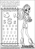 Kids coloring and letter practice page (the alphabet Letter S) with Draculaura from Monster High. Practice drawing, writing and coloring the Letter S in different shapes and sizes. Customize the DRACULAURA name in several ways, by coloring the name letters. Have fun with the coloring page while practicing on the alphabet Letter S.This coloring page for printing show Draculaura in her dawn of the dance outfit. Draculaura is drawn standing in a smart reporter-like outfit with a camera in her hands.  This Draculaura Monster High printable page to color page is drawn by elfkena ( http://elfkena.deviantart.com/ ). It has been made available for free download and printing via the artist deviant art url, squidoo pages and several monster high fan pages.  This printable colouring and letter practice page is themed around Draculaura - or Ula D as her friends call her - and the alphabet Letter S. The alphabet Letter S  is available in as uppercase in several different cool versions inside a frame, designed to look like an iron gate. The Iron gate design was found at: http://mrgone.rocksolidshells.com/bordersjpg.html