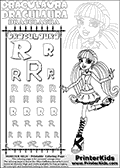 Kids coloring and letter practice page (the alphabet Letter R) with Draculaura from Monster High. Practice drawing, writing and coloring the Letter R in different shapes and sizes. Customize the DRACULAURA name in several ways, by coloring the name letters. Have fun with the coloring page while practicing on the alphabet Letter R.This coloring page for printing show Draculaura in a fresh classic pose. Draculaura is standing with her right left bent back!  This Draculaura Monster High printable page to color page is drawn by elfkena ( http://elfkena.deviantart.com/ ). It has been made available for free download and printing via the artist deviant art url, squidoo pages and several monster high fan pages.  This printable colouring and letter practice page is themed around Draculaura - or Ula D as her friends call her - and the alphabet Letter R. The alphabet Letter R  is available in as uppercase in several different cool versions inside a frame, designed to look like an iron gate. The Letter R is used for this printing page for practice and coloring, because it is one of the letters used in DRACULAURAs name. Be sure to check out letter and pencil practice printables with the other letters that are used to write DRACULAURA. The Iron gate design was found at: http://mrgone.rocksolidshells.com/bordersjpg.html
