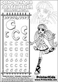 Kids coloring and letter practice page (the alphabet Letter C) with Draculaura from Monster High. Practice drawing, writing and coloring the Letter C in different shapes and sizes. Customize the DRACULAURA name in several ways, by coloring the name letters. Have fun with the coloring page while practicing on the alphabet Letter C.This coloring page for printing show Draculaura in a fresh classic pose. Draculaura is standing with her right left bent back!  This Draculaura Monster High printable page to color page is drawn by elfkena ( http://elfkena.deviantart.com/ ). It has been made available for free download and printing via the artist deviant art url, squidoo pages and several monster high fan pages.  This printable colouring and letter practice page is themed around Draculaura - or Ula D as her friends call her - and the alphabet Letter C. The alphabet Letter C  is available in as uppercase in several different cool versions inside a frame, designed to look like an iron gate. The Letter C is used for this printing page for practice and coloring, because it is one of the letters used in DRACULAURAs name. Be sure to check out Letter Cnd pencil practice printables with the other letters that are used to write DRACULAURA. The Iron gate design was found at: http://mrgone.rocksolidshells.com/bordersjpg.html
