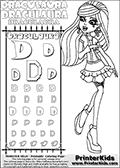 Kids coloring and letter practice page (the alphabet letter D) with Draculaura from Monster High. Practice drawing, writing and coloring the letter D in different shapes and sizes. Customize the DRACULAURA name in several ways, by coloring the name letters. Have fun with the coloring page while practicing on the alphabet letter D.This coloring page for printing show Draculaura in her Day at the Maul outfit. Draculaura is drawn standing up, pointing to the left with her right hand pointing finger. This Draculaura colouring sheet is made with earrings that are good for coloring in addition to the normal coloring areas.  This Draculaura Monster High printable page to color page is drawn by elfkena ( http://elfkena.deviantart.com/ ). It has been made available for free download and printing via the artist deviant art url, squidoo pages and several monster high fan pages.  This printable colouring and letter practice page is themed around Draculaura - or Ula D as her friends call her - and the alphabet letter D. The alphabet letter D  is available in as uppercase in several different cool versions inside a frame, designed to look like an iron gate. The Letter D is used for this printing page for practice and coloring, because it is one of the letters used in DRACULAURAs name. Be sure to check out letter and pencil practice printables with the other letters that are used to write DRACULAURA. The Iron gate design was found at: http://mrgone.rocksolidshells.com/bordersjpg.html