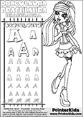 Kids coloring and letter practice page (the alphabet Letter R) with Draculaura from Monster High. Practice drawing, writing and coloring the Letter R in different shapes and sizes. Customize the DRACULAURA name in several ways, by coloring the name letters. Have fun with the coloring page while practicing on the alphabet Letter R.This coloring page for printing show Draculaura in her Day at the Maul outfit. Draculaura is drawn standing up, pointing to the left with her right hand pointing finger. This Draculaura colouring sheet is made with earrings that are good for coloring in addition to the normal coloring areas.  This Draculaura Monster High printable page to color page is drawn by elfkena ( http://elfkena.deviantart.com/ ). It has been made available for free download and printing via the artist deviant art url, squidoo pages and several monster high fan pages.  This printable colouring and letter practice page is themed around Draculaura - or Ula D as her friends call her - and the alphabet Letter R. The alphabet Letter R  is available in as uppercase in several different cool versions inside a frame, designed to look like an iron gate. The Letter R is used for this printing page for practice and coloring, because it is one of the letters used in DRACULAURAs name. Be sure to check out letter and pencil practice printables with the other letters that are used to write DRACULAURA. The Iron gate design was found at: http://mrgone.rocksolidshells.com/bordersjpg.html