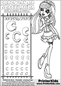 Kids coloring and letter practice page (the alphabet Letter C) with Draculaura from Monster High. Practice drawing, writing and coloring the Letter C in different shapes and sizes. Customize the DRACULAURA name in several ways, by coloring the name letters. Have fun with the coloring page while practicing on the alphabet Letter C.This coloring page for printing show Draculaura in her Day at the Maul outfit. Draculaura is drawn standing up, pointing to the left with her right hand pointing finger. This Draculaura colouring sheet is made with earrings that are good for coloring in addition to the normal coloring areas.  This Draculaura Monster High printable page to color page is drawn by elfkena ( http://elfkena.deviantart.com/ ). It has been made available for free download and printing via the artist deviant art url, squidoo pages and several monster high fan pages.  This printable colouring and letter practice page is themed around Draculaura - or Ula D as her friends call her - and the alphabet Letter C. The alphabet Letter C  is available in as uppercase in several different cool versions inside a frame, designed to look like an iron gate. The Letter C is used for this printing page for practice and coloring, because it is one of the letters used in DRACULAURAs name. Be sure to check out Letter Cnd pencil practice printables with the other letters that are used to write DRACULAURA. The Iron gate design was found at: http://mrgone.rocksolidshells.com/bordersjpg.html