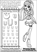 Kids coloring and letter practice page (the alphabet Letter U) with Draculaura from Monster High. Practice drawing, writing and coloring the Letter U in different shapes and sizes. Customize the DRACULAURA name in several ways, by coloring the name letters. Have fun with the coloring page while practicing on the alphabet Letter U.This coloring page for printing show Draculaura in her Day at the Maul outfit. Draculaura is drawn standing up, pointing to the left with her right hand pointing finger. This Draculaura colouring sheet is made with earrings that are good for coloring in addition to the normal coloring areas.  This Draculaura Monster High printable page to color page is drawn by elfkena ( http://elfkena.deviantart.com/ ). It has been made available for free download and printing via the artist deviant art url, squidoo pages and several monster high fan pages.  This printable colouring and letter practice page is themed around Draculaura - or Ula D as her friends call her - and the alphabet Letter U. The alphabet Letter U  is available in as uppercase in several different cool versions inside a frame, designed to look like an iron gate. The Letter U is used for this printing page for practice and coloring, because it is one of the letters used in DRACULAURAs name. Be sure to check out Letter Und pencil practice printables with the other letters that are used to write DRACULAURA. The Iron gate design was found at: http://mrgone.rocksolidshells.com/bordersjpg.html