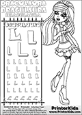 Kids coloring and letter practice page (the alphabet Letter L) with Draculaura from Monster High. Practice drawing, writing and coloring the Letter L in different shapes and sizes. Customize the DRACULAURA name in several ways, by coloring the name letters. Have fun with the coloring page while practicing on the alphabet Letter L.This coloring page for printing show Draculaura in her Day at the Maul outfit. Draculaura is drawn standing up, pointing to the left with her right hand pointing finger. This Draculaura colouring sheet is made with earrings that are good for coloring in addition to the normal coloring areas.  This Draculaura Monster High printable page to color page is drawn by elfkena ( http://elfkena.deviantart.com/ ). It has been made available for free download and printing via the artist deviant art url, squidoo pages and several monster high fan pages.  This printable colouring and letter practice page is themed around Draculaura - or Ula D as her friends call her - and the alphabet Letter L. The alphabet Letter L  is available in as uppercase in several different cool versions inside a frame, designed to look like an iron gate. The Letter L is used for this printing page for practice and coloring, because it is one of the letters used in DRACULAURAs name. Be sure to check out Letter Lnd pencil practice printables with the other letters that are used to write DRACULAURA. The Iron gate design was found at: http://mrgone.rocksolidshells.com/bordersjpg.html