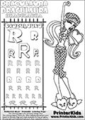 Monster High - Draculaura (Dead Tired Pose) - Letter R - Pencil Practice  and Coloring Page