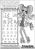 Kids coloring and letter practice page (the alphabet Letter R) with Draculaura from Monster High. Practice drawing, writing and coloring the Letter R in different shapes and sizes. Customize the DRACULAURA name in several ways, by coloring the name letters. Have fun with the coloring page while practicing on the alphabet Letter R.This coloring page for printing show Draculaura in a cute-as-always outfit with dots and hearts. She is standing with a prse in one hand.  This Draculaura Monster High printable page to color page is drawn by elfkena ( http://elfkena.deviantart.com/ ). It has been made available for free download and printing via the artist deviant art url, squidoo pages and several monster high fan pages.  This printable colouring and letter practice page is themed around Draculaura - or Ula D as her friends call her - and the alphabet Letter R. The alphabet Letter R  is available in as uppercase in several different cool versions inside a frame, designed to look like an iron gate. The Letter R is used for this printing page for practice and coloring, because it is one of the letters used in DRACULAURAs name. Be sure to check out letter and pencil practice printables with the other letters that are used to write DRACULAURA. The Iron gate design was found at: http://mrgone.rocksolidshells.com/bordersjpg.html