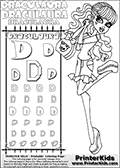 Kids coloring and letter practice page (the alphabet letter D) with Draculaura from Monster High. Practice drawing, writing and coloring the letter D in different shapes and sizes. Customize the DRACULAURA name in several ways, by coloring the name letters. Have fun with the coloring page while practicing on the alphabet letter D.This coloring page for printing show Draculaura in her scaris outfit!  Draculaura is drawn holding her purse or having her purse hang on her left arm. Draculaura is standing up, with her right leg bent backwards. This Draculaura Monster High printable page to color page is drawn by elfkena ( http://elfkena.deviantart.com/ ). It has been made available for free download and printing via the artist deviant art url, squidoo pages and several monster high fan pages.  This printable colouring and letter practice page is themed around Draculaura - or Ula D as her friends call her - and the alphabet letter D. The alphabet letter D  is available in as uppercase in several different cool versions inside a frame, designed to look like an iron gate. The Letter D is used for this printing page for practice and coloring, because it is one of the letters used in DRACULAURAs name. Be sure to check out letter and pencil practice printables with the other letters that are used to write DRACULAURA. The Iron gate design was found at: http://mrgone.rocksolidshells.com/bordersjpg.html