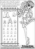 Kids coloring and letter practice page (the alphabet Letter R) with Draculaura from Monster High. Practice drawing, writing and coloring the Letter R in different shapes and sizes. Customize the DRACULAURA name in several ways, by coloring the name letters. Have fun with the coloring page while practicing on the alphabet Letter R.This coloring page for printing show Draculaura in her scaris outfit!  Draculaura is drawn holding her purse or having her purse hang on her left arm. Draculaura is standing up, with her right leg bent backwards. This Draculaura Monster High printable page to color page is drawn by elfkena ( http://elfkena.deviantart.com/ ). It has been made available for free download and printing via the artist deviant art url, squidoo pages and several monster high fan pages.  This printable colouring and letter practice page is themed around Draculaura - or Ula D as her friends call her - and the alphabet Letter R. The alphabet Letter R  is available in as uppercase in several different cool versions inside a frame, designed to look like an iron gate. The Letter R is used for this printing page for practice and coloring, because it is one of the letters used in DRACULAURAs name. Be sure to check out letter and pencil practice printables with the other letters that are used to write DRACULAURA. The Iron gate design was found at: http://mrgone.rocksolidshells.com/bordersjpg.html