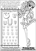 Kids coloring and letter practice page (the alphabet Letter U) with Draculaura from Monster High. Practice drawing, writing and coloring the Letter U in different shapes and sizes. Customize the DRACULAURA name in several ways, by coloring the name letters. Have fun with the coloring page while practicing on the alphabet Letter U.This coloring page for printing show Draculaura in her scaris outfit!  Draculaura is drawn holding her purse or having her purse hang on her left arm. Draculaura is standing up, with her right leg bent backwards. This Draculaura Monster High printable page to color page is drawn by elfkena ( http://elfkena.deviantart.com/ ). It has been made available for free download and printing via the artist deviant art url, squidoo pages and several monster high fan pages.  This printable colouring and letter practice page is themed around Draculaura - or Ula D as her friends call her - and the alphabet Letter U. The alphabet Letter U  is available in as uppercase in several different cool versions inside a frame, designed to look like an iron gate. The Letter U is used for this printing page for practice and coloring, because it is one of the letters used in DRACULAURAs name. Be sure to check out Letter Und pencil practice printables with the other letters that are used to write DRACULAURA. The Iron gate design was found at: http://mrgone.rocksolidshells.com/bordersjpg.html