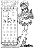 Kids coloring and letter practice page (the alphabet Letter R) with Draculaura from Monster High. Practice drawing, writing and coloring the Letter R in different shapes and sizes. Customize the DRACULAURA name in several ways, by coloring the name letters. Have fun with the coloring page while practicing on the alphabet Letter R.This coloring page for printing show Draculaura in her sweet 1600 dress holding a fantastic cake!  This Draculaura Monster High printable page to color page is drawn by elfkena ( http://elfkena.deviantart.com/ ). It has been made available for free download and printing via the artist deviant art url, squidoo pages and several monster high fan pages.  This printable colouring and letter practice page is themed around Draculaura - or Ula D as her friends call her - and the alphabet Letter R. The alphabet Letter R  is available in as uppercase in several different cool versions inside a frame, designed to look like an iron gate. The Letter R is used for this printing page for practice and coloring, because it is one of the letters used in DRACULAURAs name. Be sure to check out letter and pencil practice printables with the other letters that are used to write DRACULAURA. The Iron gate design was found at: http://mrgone.rocksolidshells.com/bordersjpg.html