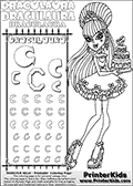 Monster High - Draculaura (Sweet 1600 with cake) - Letter C - Pencil Practice  and Coloring Page