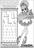 Monster High - Draculaura (Sweet 1600 with cake) - Letter L - Pencil Practice  and Coloring Page