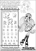 Kids coloring and letter practice page (the alphabet Letter R) with Draculaura from Monster High. Practice drawing, writing and coloring the Letter R in different shapes and sizes. Customize the DRACULAURA name in several ways, by coloring the name letters. Have fun with the coloring page while practicing on the alphabet Letter R.This coloring page for printing show Draculaura in a classic cutie pose looking sweet as ever!  This Draculaura Monster High printable page to color page is drawn by elfkena ( http://elfkena.deviantart.com/ ). It has been made available for free download and printing via the artist deviant art url, squidoo pages and several monster high fan pages.  This printable colouring and letter practice page is themed around Draculaura - or Ula D as her friends call her - and the alphabet Letter R. The alphabet Letter R  is available in as uppercase in several different cool versions inside a frame, designed to look like an iron gate. The Letter R is used for this printing page for practice and coloring, because it is one of the letters used in DRACULAURAs name. Be sure to check out letter and pencil practice printables with the other letters that are used to write DRACULAURA. The Iron gate design was found at: http://mrgone.rocksolidshells.com/bordersjpg.html