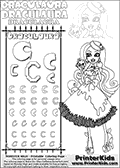 Kids coloring and letter practice page (the alphabet Letter C) with Draculaura from Monster High. Practice drawing, writing and coloring the Letter C in different shapes and sizes. Customize the DRACULAURA name in several ways, by coloring the name letters. Have fun with the coloring page while practicing on the alphabet Letter C.This coloring page for printing show Draculaura in her Snowbite outfit!  This Draculaura Monster High printable page to color page is drawn by elfkena ( http://elfkena.deviantart.com/ ). It has been made available for free download and printing via the artist deviant art url, squidoo pages and several monster high fan pages.  This printable colouring and letter practice page is themed around Draculaura - or Ula D as her friends call her - and the alphabet Letter C. The alphabet Letter C  is available in as uppercase in several different cool versions inside a frame, designed to look like an iron gate. The Letter C is used for this printing page for practice and coloring, because it is one of the letters used in DRACULAURAs name. Be sure to check out Letter Cnd pencil practice printables with the other letters that are used to write DRACULAURA. The Iron gate design was found at: http://mrgone.rocksolidshells.com/bordersjpg.html