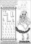 Kids coloring and letter practice page (the alphabet Letter L) with Draculaura from Monster High. Practice drawing, writing and coloring the Letter L in different shapes and sizes. Customize the DRACULAURA name in several ways, by coloring the name letters. Have fun with the coloring page while practicing on the alphabet Letter L.This coloring page for printing show Draculaura in her Snowbite outfit!  This Draculaura Monster High printable page to color page is drawn by elfkena ( http://elfkena.deviantart.com/ ). It has been made available for free download and printing via the artist deviant art url, squidoo pages and several monster high fan pages.  This printable colouring and letter practice page is themed around Draculaura - or Ula D as her friends call her - and the alphabet Letter L. The alphabet Letter L  is available in as uppercase in several different cool versions inside a frame, designed to look like an iron gate. The Letter L is used for this printing page for practice and coloring, because it is one of the letters used in DRACULAURAs name. Be sure to check out Letter Lnd pencil practice printables with the other letters that are used to write DRACULAURA. The Iron gate design was found at: http://mrgone.rocksolidshells.com/bordersjpg.html