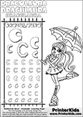 Monster High - Draculaura (Umbrella Light) - Letter C - Pencil Practice  and Coloring Page