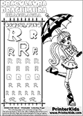 Kids coloring and letter practice page (the alphabet Letter R) with Draculaura from Monster High. Practice drawing, writing and coloring the Letter R in different shapes and sizes. Customize the DRACULAURA name in several ways, by coloring the name letters. Have fun with the coloring page while practicing on the alphabet Letter R.This coloring page for printing show Draculaura posing with an umbrella to keep her safe under the sun.  This Draculaura Monster High printable page to color page is drawn by elfkena ( http://elfkena.deviantart.com/ ). It has been made available for free download and printing via the artist deviant art url, squidoo pages and several monster high fan pages.  This printable colouring and letter practice page is themed around Draculaura - or Ula D as her friends call her - and the alphabet Letter R. The alphabet Letter R  is available in as uppercase in several different cool versions inside a frame, designed to look like an iron gate. The Letter R is used for this printing page for practice and coloring, because it is one of the letters used in DRACULAURAs name. Be sure to check out letter and pencil practice printables with the other letters that are used to write DRACULAURA. The Iron gate design was found at: http://mrgone.rocksolidshells.com/bordersjpg.html