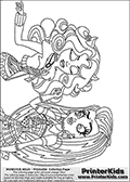 Coloring page with Frankie Stein and Clawdeen Wolf from Monster High. This Monster High colouring page show Frankie and Clawdeen standing next to each other pointing to the side. They are both drawn from the belt and up. This Monster High coloring sheet is drawn by Loke Hansen: http://www.LokeHansen.com. It has been made available for free download and printing the blog coloring section. Frankie Stein from Monster High is a smart frankensteins monster themed humanoid female character, that is the daughter of Dr. Frankensteins monster and his bride.