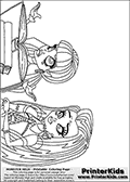 Coloring page with Frankie Stein and Draculaura standing together in front of an open book.  This Monster High coloring sheet is drawn by Loke Hansen: http://www.LokeHansen.com. It has been made available for free download and printing the blog coloring section. Frankie Stein from Monster High is a smart frankensteins monster themed humanoid female character, that is the daughter of Dr. Frankensteins monster and his bride.