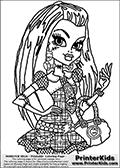 Coloring page with Frankie Stein from Monster High. This Frankie Stein Monster High colouring page is drawn with a high level of detail, showing Frankie Stein in a super hot pose from her belt and up leaving room for coloring of the many detail areas of Frankie Steins outfit such as her tie, purse and earrings. This Frankie Stein coloring sheet is drawn by Loke Hansen: http://www.LokeHansen.com. It has been made available for free download and printing the blog coloring section. Frankie Stein from Monster High is a smart frankensteins monster themed humanoid female character, that is the daughter of Dr. Frankensteins monster and his bride.